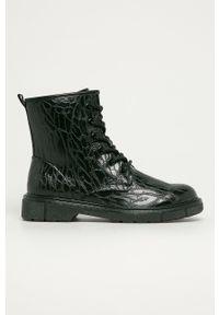 Marco Tozzi - Workery. Nosek buta: okrągły. Zapięcie: sznurówki. Kolor: czarny. Materiał: guma