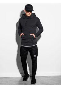 Ombre Clothing - Bluza męska z kapturem B1012 - czarna - XXL. Typ kołnierza: kaptur. Kolor: czarny. Materiał: bawełna, dzianina, poliester. Styl: elegancki
