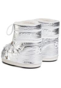 Srebrne śniegowce Moon Boot na zimę, z cholewką
