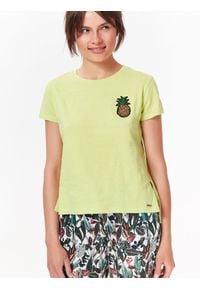 Zielony t-shirt TOP SECRET casualowy, na co dzień, na lato, krótki