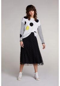 Tiulowa spódnica z kropkowanym flokowanym nadrukiem Oui. Kolor: czarny. Materiał: tiul. Wzór: nadruk