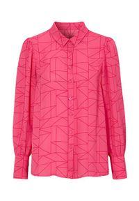 Cellbes Wzorzysta bluzka z bufkami czerwonoróżowy we wzory female czerwony/różowy/ze wzorem 46/48. Kolor: czerwony, różowy, wielokolorowy. Materiał: tkanina, poliester. Długość rękawa: długi rękaw. Długość: długie. Styl: klasyczny