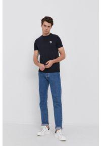 Karl Lagerfeld - T-shirt. Kolor: niebieski. Materiał: dzianina. Wzór: aplikacja