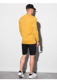 Ombre Clothing - Longsleeve męski bez nadruku L131 - musztardowy - XXL. Kolor: żółty. Materiał: bawełna. Długość rękawa: długi rękaw #4