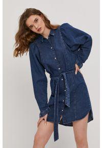 only - Only - Sukienka jeansowa. Kolor: niebieski. Materiał: jeans. Długość rękawa: długi rękaw