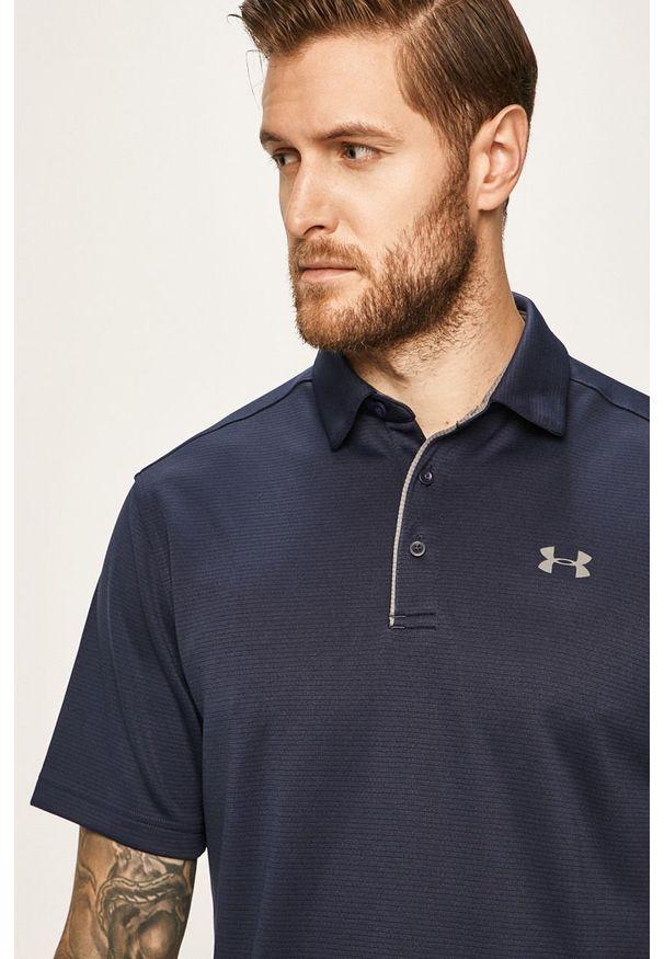 Niebieska koszulka polo Under Armour krótka, na co dzień, gładkie, polo