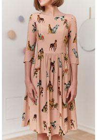 Marie Zélie - Sukienka Melania Canides. Materiał: bawełna, wiskoza, skóra, materiał. Długość rękawa: krótki rękaw
