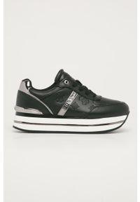 Czarne buty sportowe Guess Jeans na obcasie, na średnim obcasie