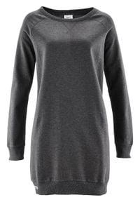 Sukienka dresowa z rękawami raglanowymi bonprix antracytowy melanż. Kolor: szary. Materiał: dresówka. Długość rękawa: raglanowy rękaw. Wzór: melanż