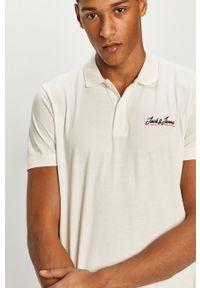 Biała koszulka polo Jack & Jones na co dzień, krótka