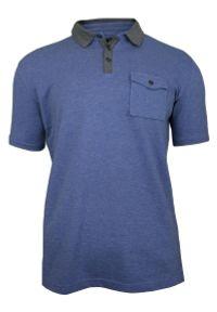 Niebieska Koszulka Polo z Kieszonką -100% BAWEŁNA- Chiao, Męska, Krótki Rękaw. Typ kołnierza: polo. Kolor: niebieski. Materiał: bawełna. Długość rękawa: krótki rękaw. Długość: krótkie