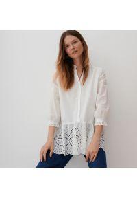 Reserved - Bawełniana bluzka - Kremowy. Kolor: kremowy. Materiał: bawełna