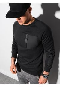 Ombre Clothing - Bluza męska bez kaptura B1151 - czarna - XXL. Typ kołnierza: bez kaptura. Kolor: czarny. Materiał: tkanina, dzianina, poliester, jeans, materiał, bawełna