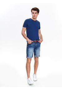 Niebieski t-shirt TOP SECRET z dekoltem w serek, krótki, z krótkim rękawem