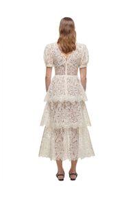 SELF PORTRAIT - Sukienka maxi z koronką. Kolor: biały. Materiał: koronka. Wzór: koronka. Długość: maxi