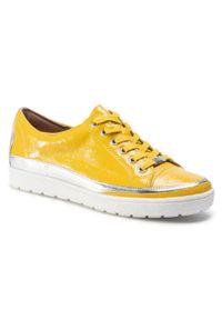 Caprice - Sneakersy CAPRICE - 9-23654-24 Lemon Naplak 629. Okazja: na co dzień. Kolor: żółty. Materiał: skóra. Szerokość cholewki: normalna. Sezon: lato. Styl: casual, sportowy