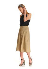 TOP SECRET - Spódnica trapezowa z ozdobnymi guziczkami. Kolor: beżowy. Materiał: bawełna, len. Sezon: lato