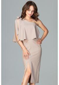 Lenitif - Koktajlowa ołówkowa sukienka na jedno ramię z falbaną beżowa. Okazja: na ślub cywilny, na randkę, na wesele. Kolor: beżowy. Materiał: tkanina. Typ sukienki: ołówkowe. Styl: wizytowy