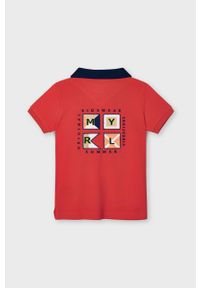 Czerwony t-shirt polo Mayoral na co dzień, krótki, casualowy