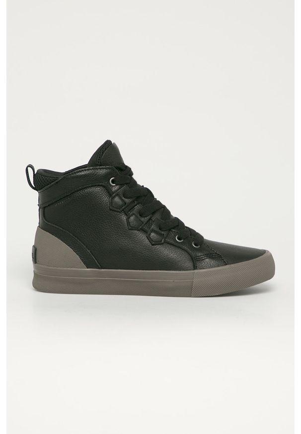 Czarne sneakersy sorel z cholewką, na sznurówki
