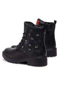 Czarne buty zimowe Geox z cholewką, z aplikacjami