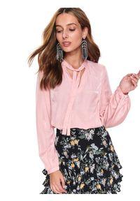 Różowa bluzka TOP SECRET na zimę, z długim rękawem, do pracy