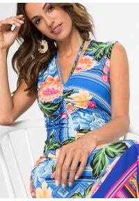 Niebieska sukienka bonprix midi, w kwiaty, na lato