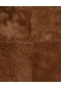 ALMAROSAFUR - Brązowy dwustronny kożuch. Kolor: brązowy. Materiał: puch. Sezon: zima. Styl: klasyczny, elegancki #6