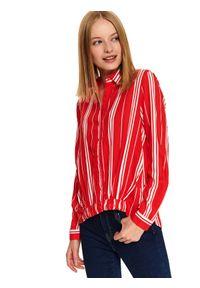 TOP SECRET - Luźna koszula w paski. Kolor: pomarańczowy. Materiał: tkanina. Długość rękawa: długi rękaw. Długość: długie. Wzór: paski. Sezon: jesień, zima. Styl: elegancki