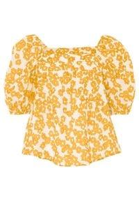 Bluzka zakładana przez głowę bonprix biel wełny - żółty w roślinny wzór. Kolor: biały. Materiał: wełna