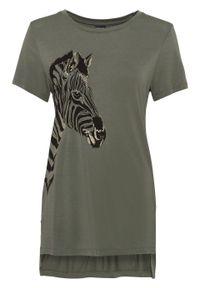 T-shirt z motywem zebry bonprix oliwkowy. Kolor: zielony. Długość: długie. Wzór: motyw zwierzęcy