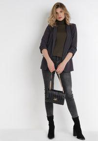 Born2be - Szara Marynarka Alexithise. Okazja: na co dzień. Kolor: szary. Materiał: jeans. Wzór: aplikacja. Styl: sportowy, klasyczny, casual #4