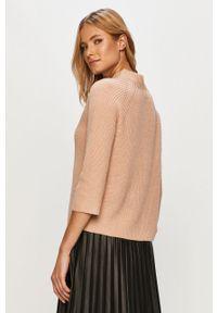 Różowy sweter only casualowy, z okrągłym kołnierzem, na co dzień