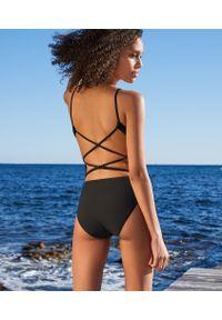 Czarny strój kąpielowy jednoczęściowy Etam w paski