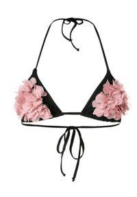 LA REVECHE - Czarny top od bikini Shayna. Kolor: czarny. Materiał: tkanina. Wzór: kwiaty