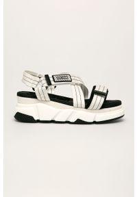 Białe sandały Pepe Jeans na platformie, na rzepy, bez obcasa