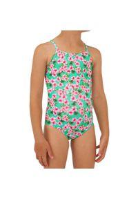 OLAIAN - Kostium Kąpielowy Jednoczęściowy Hanalei 100 Sakura Dla Dzieci. Kolor: zielony. Materiał: poliester, elastan, materiał