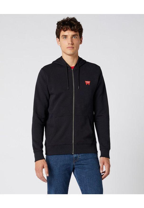 Czarna bluza Wrangler w kolorowe wzory, z kapturem