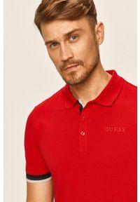 Czerwona koszulka polo Guess Jeans casualowa, na co dzień