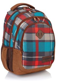 Brązowy plecak ASTRA w kratkę