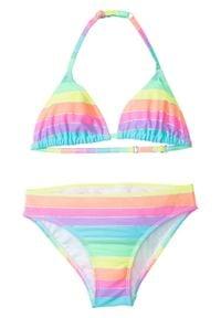 Bikini dziewczęce (2 części) bonprix różowy w paski. Kolor: różowy. Wzór: paski