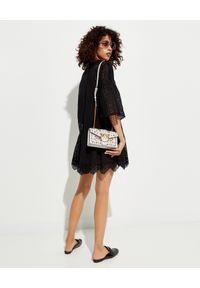 Pinko - PINKO - Czarna ażurowa sukienka mini Sosia. Kolor: czarny. Materiał: bawełna, koronka. Wzór: ażurowy. Styl: boho, elegancki. Długość: mini