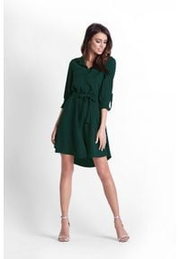 e-margeritka - Sukienka koszulowa butelkowa zieleń - 34. Okazja: do pracy. Materiał: elastan, poliester, materiał. Długość rękawa: długi rękaw. Sezon: wiosna. Typ sukienki: koszulowe. Styl: elegancki