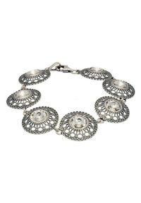 Srebrna bransoletka srebrna, z aplikacjami, z kryształem
