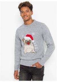 Sweter z bożonarodzeniowym motywem bonprix jasnoszary melanż. Kolor: szary. Materiał: dzianina. Wzór: melanż #4