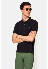Lancerto - Koszulka Ciemnogranatowa Polo Patrick. Typ kołnierza: polo. Kolor: niebieski. Materiał: włókno, materiał, bawełna. Wzór: ze splotem, gładki. Styl: klasyczny