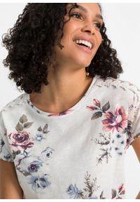 Shirt z nadrukiem i koronką bonprix biel wełny w kwiaty. Kolor: biały. Materiał: wełna, koronka. Wzór: nadruk, kwiaty, koronka