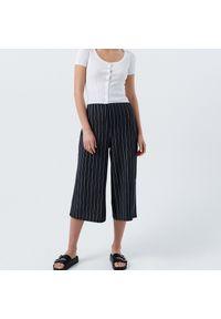 Cropp - Wzorzyste spodnie culotte - Szary. Kolor: szary