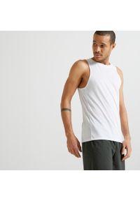 DOMYOS - Koszulka fitness Domyos 100 męska. Kolor: biały. Materiał: materiał, poliester. Styl: klasyczny