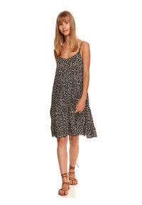 TOP SECRET - Luźna sukienka na ramiączkach w zwierzęcy wzór. Okazja: do pracy. Kolor: czarny. Materiał: dzianina. Długość rękawa: na ramiączkach. Wzór: motyw zwierzęcy, nadruk. Sezon: jesień. Typ sukienki: koszulowe